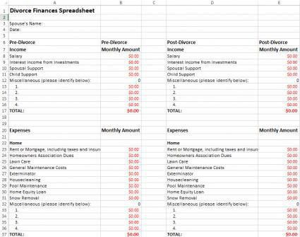 Divorce Finances Spreadsheet