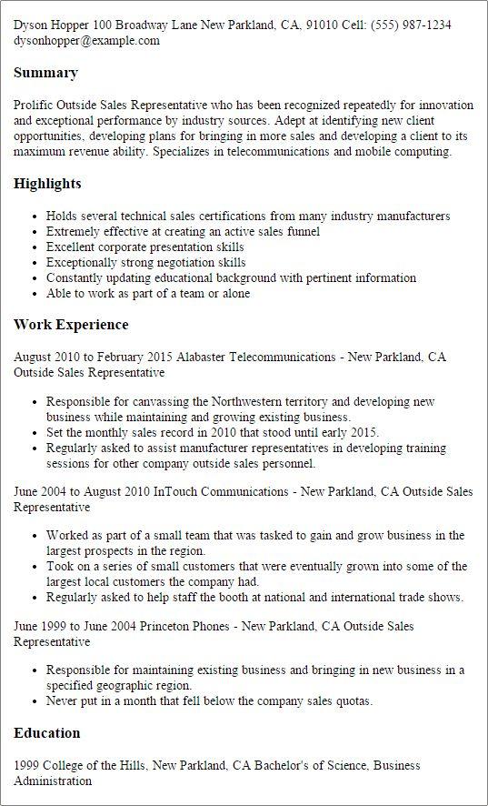 Outside representative resume sales sample