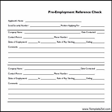 Pre Employment Reference Check Template | TemplateZet