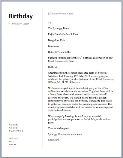 Birthday Invitation Letter – Free Sample Letters