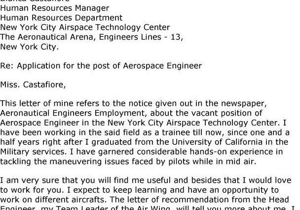 aerospace engineering cover letter sample - Writing Resume Sample ...