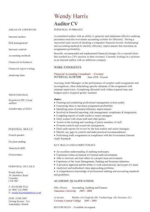 auditor CV sample, •Bookkeeping and accounting skills, on-site ...