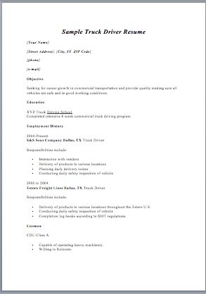 sample resumes for truck drivers truck driver resume sample and