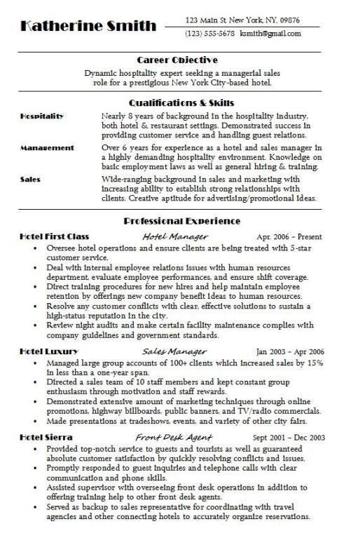 hospitality resume sample amp writing guide resume genius ...