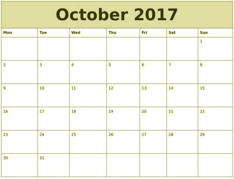 October 2017 Printable Calendar, Blank October 2016 Calendar Templates