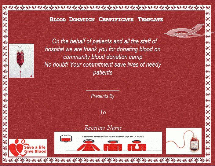 Blood Donation Certificate Template - TEMPLATFORM.COM