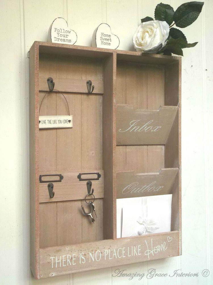 Shabby Chic Letter Rack Storage Key Hooks Holder Vintage Style ...