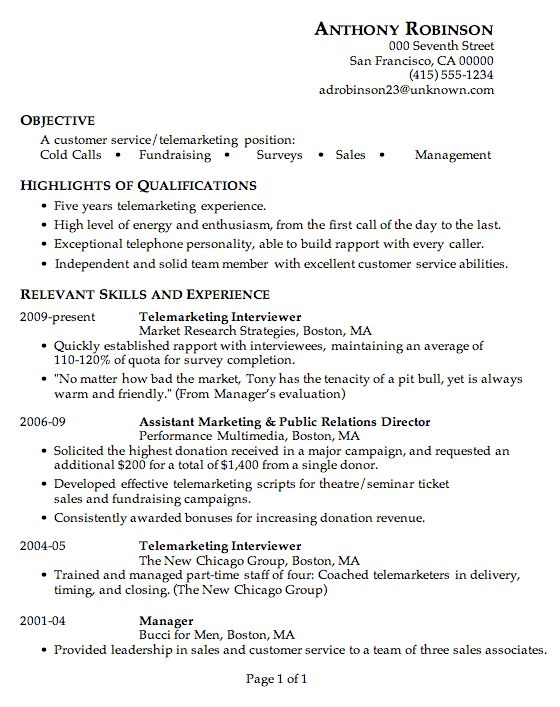 Resume Sample: Customer Service / Telemarketing