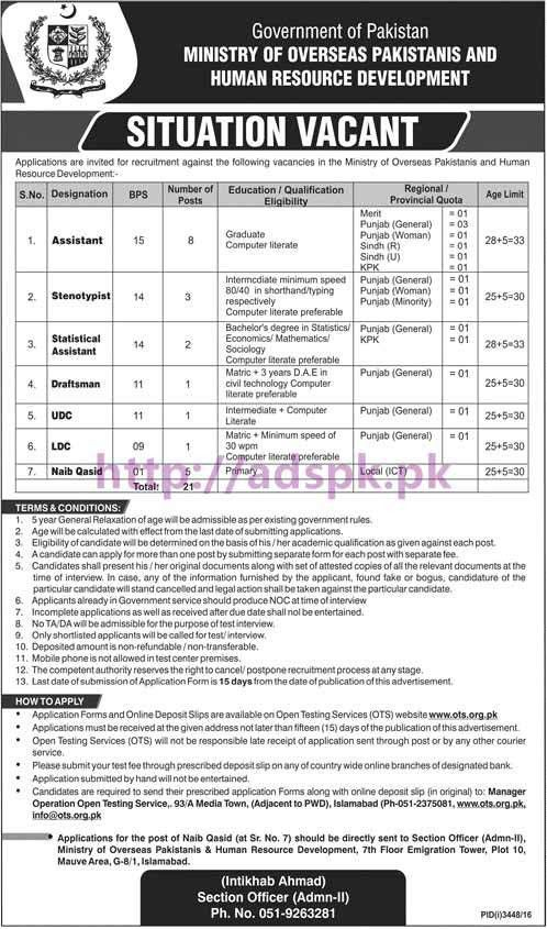 OTS New Jobs Ministry of Overseas Pakistanis and Human Resource ...