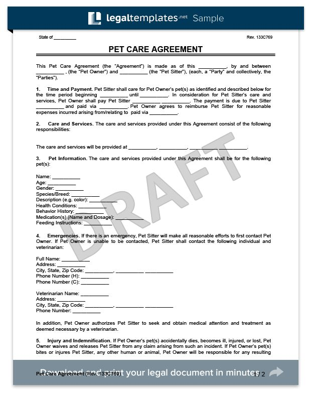 Pet Care Agreement | Create a Free Pet Care Agreement Form