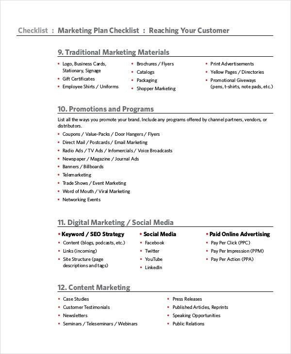 Marketing Checklist Template - 10+ Free Word, PDF Documents ...
