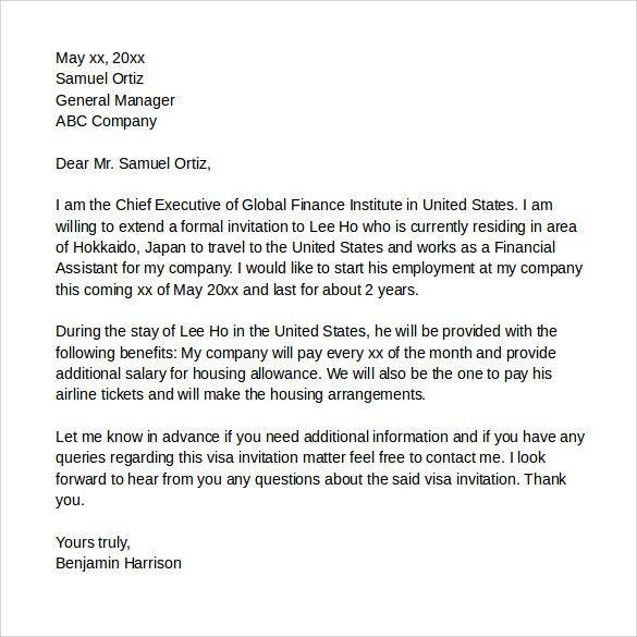 Visa Invitation Letter. Invitation Letter Format For Uk Tourist ...