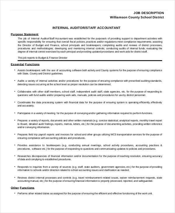 Staff Accountant Job Description. Staff-Auditor-Job-Description ...
