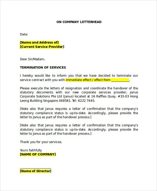 Sample Service Termination Letter - 6+ Documents in PDF, Word