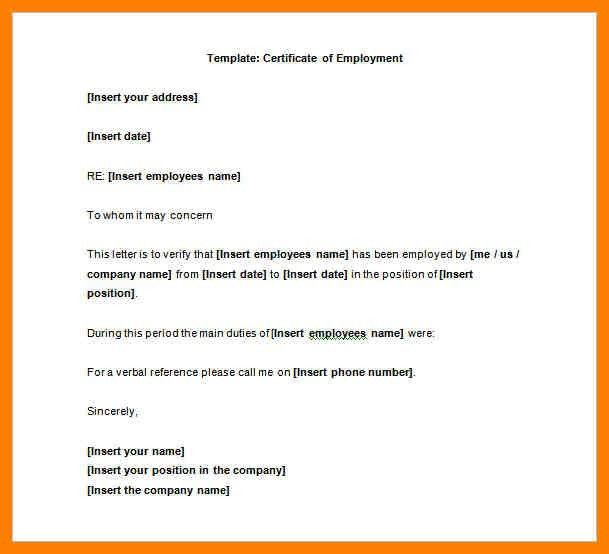 7+ letter of certification of employment sample   joblettered