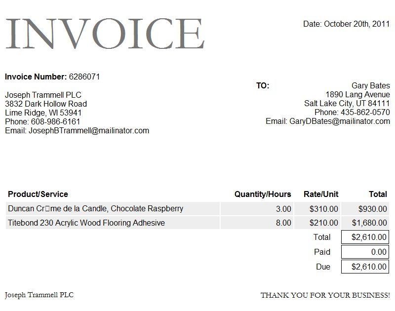 Free Microsoft Word Invoice Template | Free Business Template