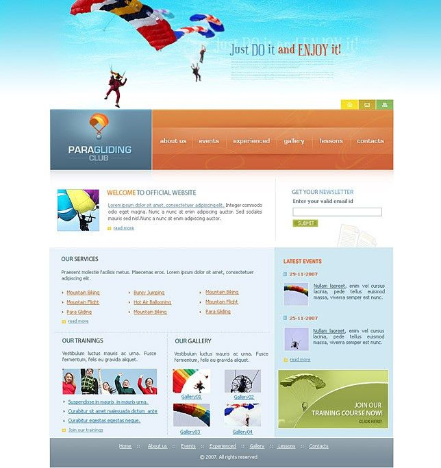 Landing page templates for entertainment websites