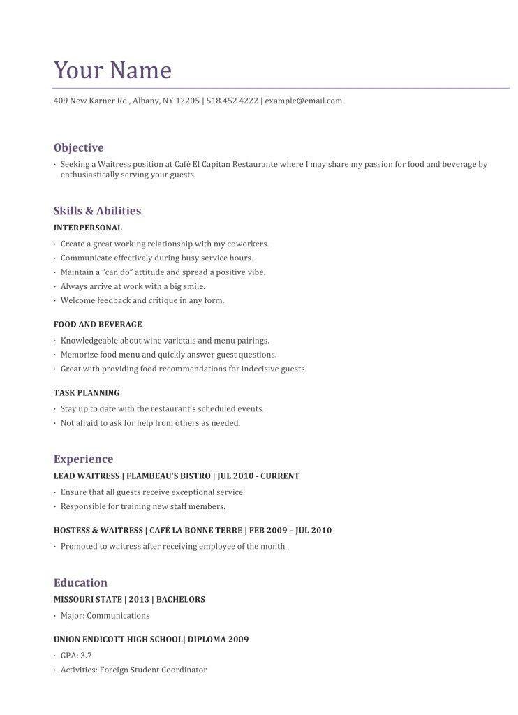 Great Server Resume. 72 best resume images on pinterest resume ...