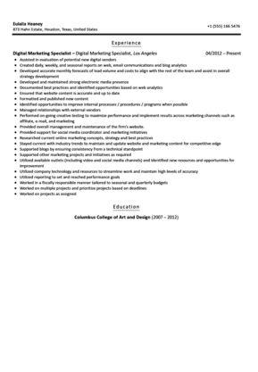 Digital Marketing Specialist Resume Sample | Velvet Jobs