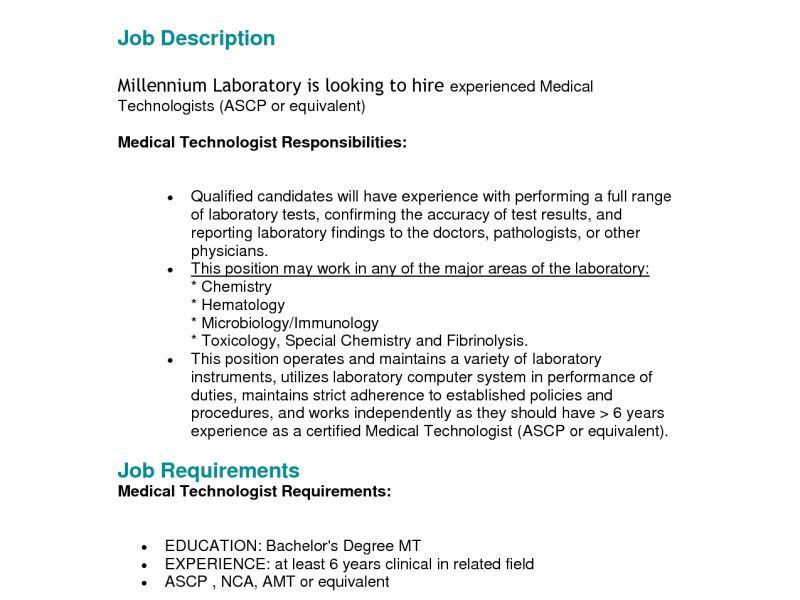 Medical Technologist Job Description  StaruptalentCom