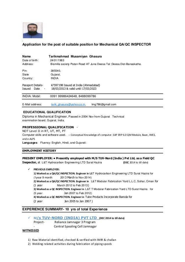 Qc Inspector Resume Pdf - Contegri.com