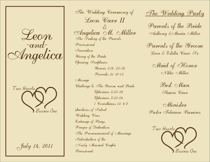 Printable Wedding Programs Templates Sample Ceremony - DIY Wedding ...