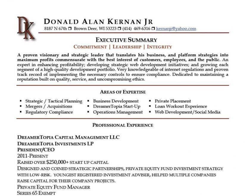 Executive resumes samples