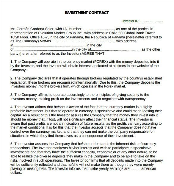 Investment Contract Template   7+ Free Sample, Example, Formats