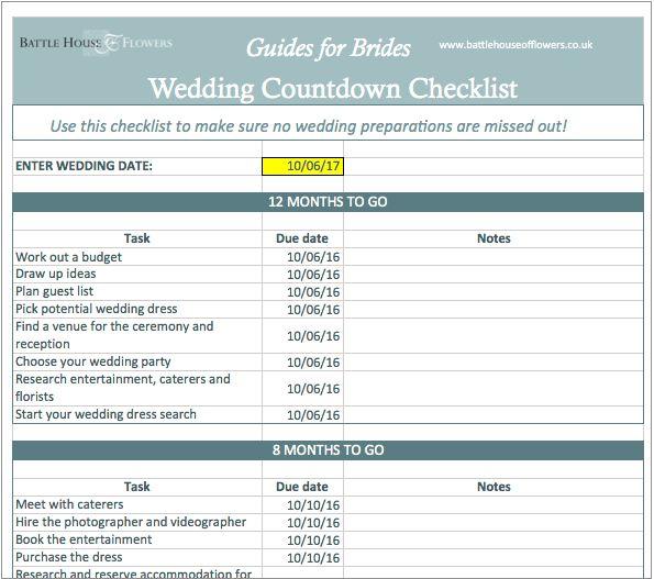 Wedding Countdown Checklist