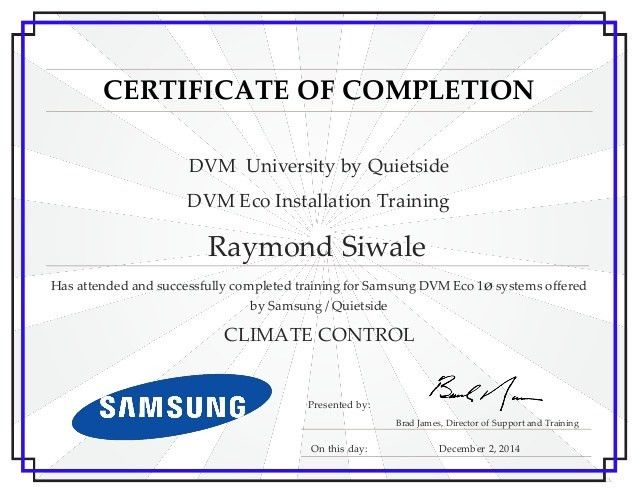 Certificate of completion training 7 certificates of completion raymond siwale dvm eco installation training completion certifica yadclub Choice Image