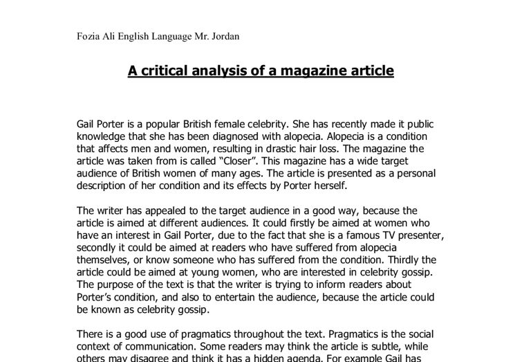 A critical analysis of a magazine article - A-Level Media Studies ...