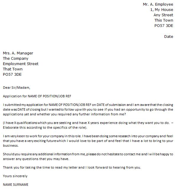 Follow Up Letter Example After Job Application - icover.org.uk