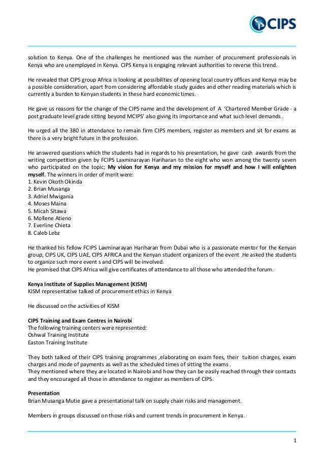 CIPS kenya-event-feb-2015 REPORT