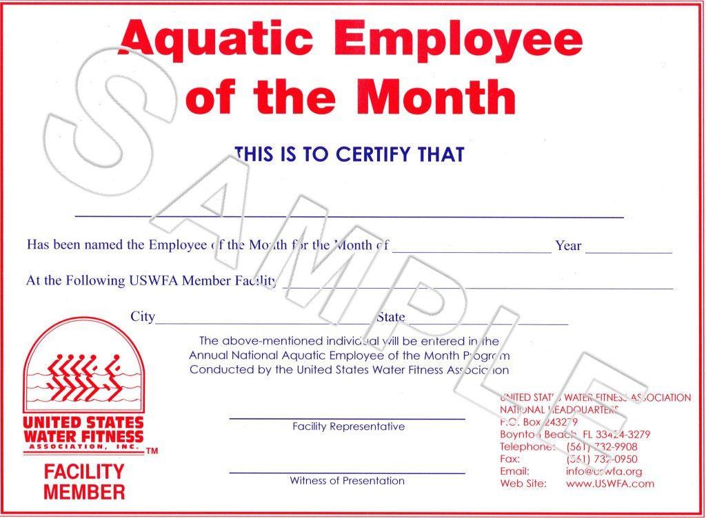 Impressive Certificate Award Template of Aquatic Employee of The ...