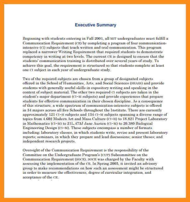 Exec Summary Example Sample Executive Summary For A Marketing – Sample of Executive Summary of a Report