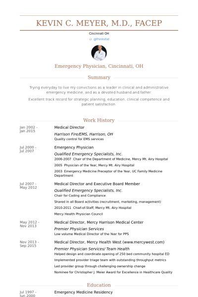 Medical Director Resume samples - VisualCV resume samples database