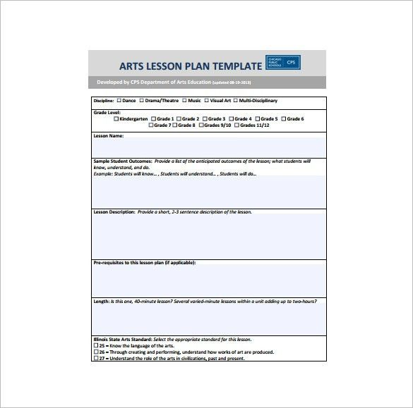 Art Lesson Plan Template – 12+ Free Sample, Example, Format ...