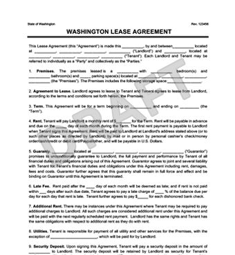 Washington Residential Lease Agreement | Create a Free Rental ...