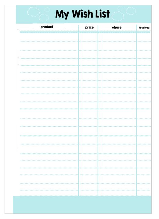 Printable Wish List Template Samples : Vlcpeque