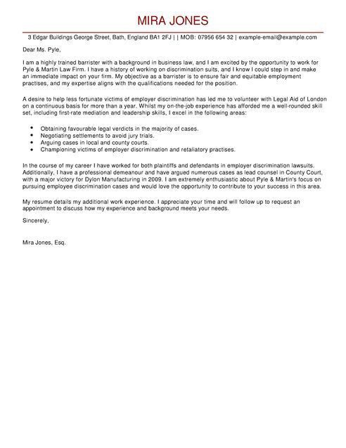 Barrister Cover Letter Examples for Legal   LiveCareer