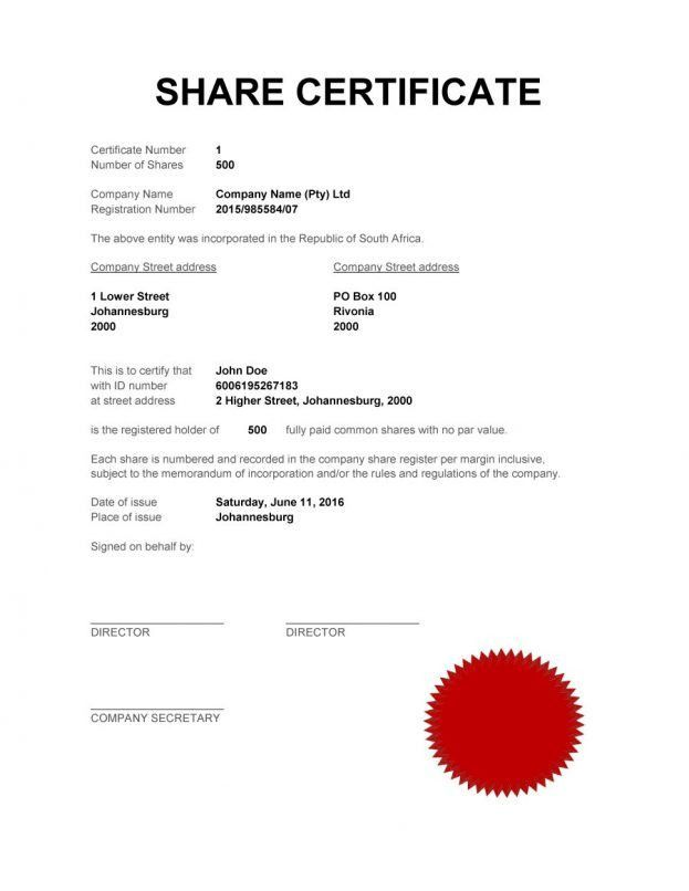 certificate template 13 share/stock certificate templates blank ...