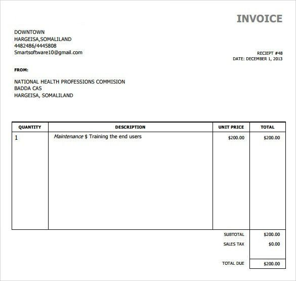 Simple Invoice Example | invoice sample template