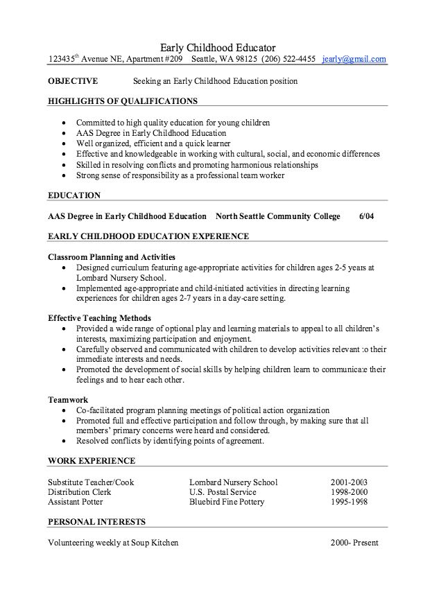 Early Childhood Educator Resume Samples - http://resumesdesign.com ...