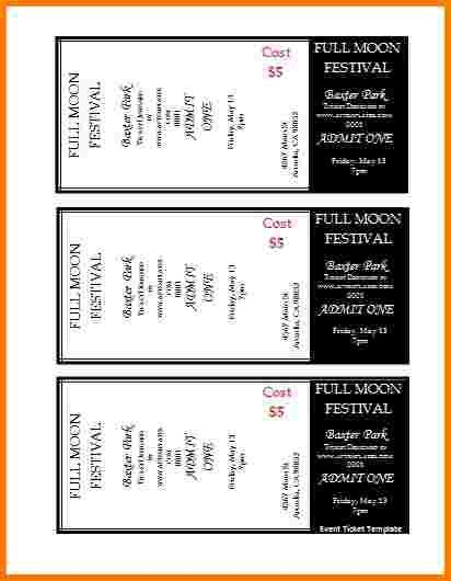 3 free ticket templates | Receipt Templates