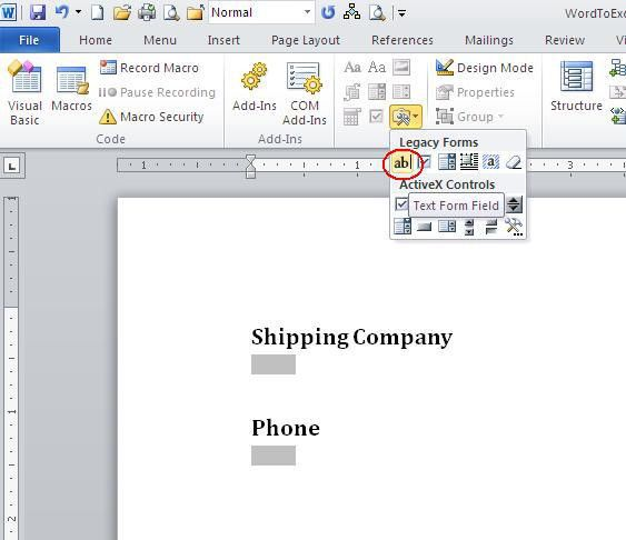 10 steps to transferring Word form data to an Excel sheet ...