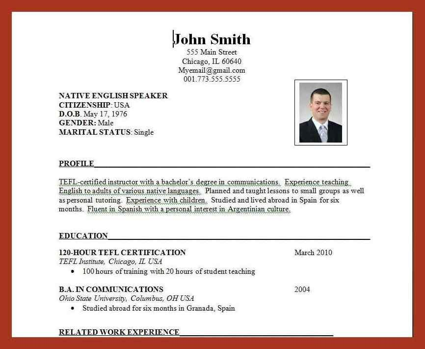 standard resume format | job proposal example