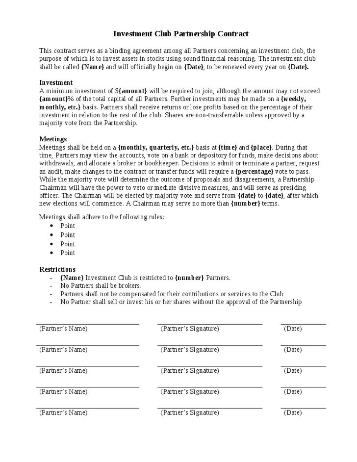 Investment Contract Template – PDF Excel Word – Get Calendar Templates