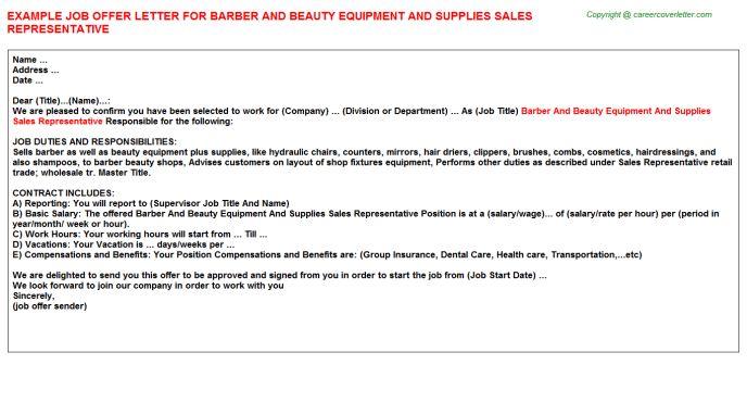 Ultrasonic Equipment Sales Representative Offer Letters
