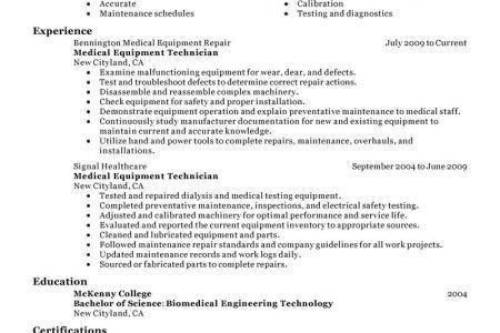 100+ Biomedical Technician Resume Sample | 39 Best Resume Example ...