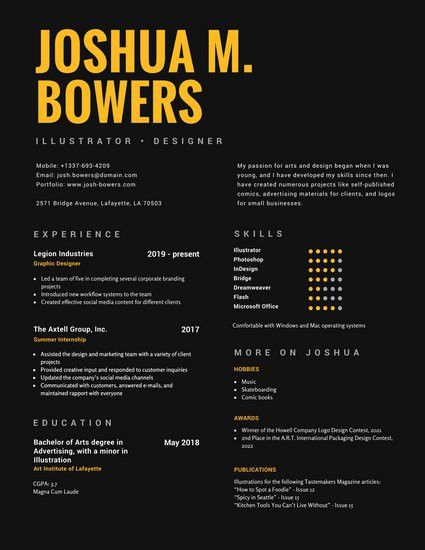 Black and Yellow Bold Graphic Designer Resume - Templates by Canva